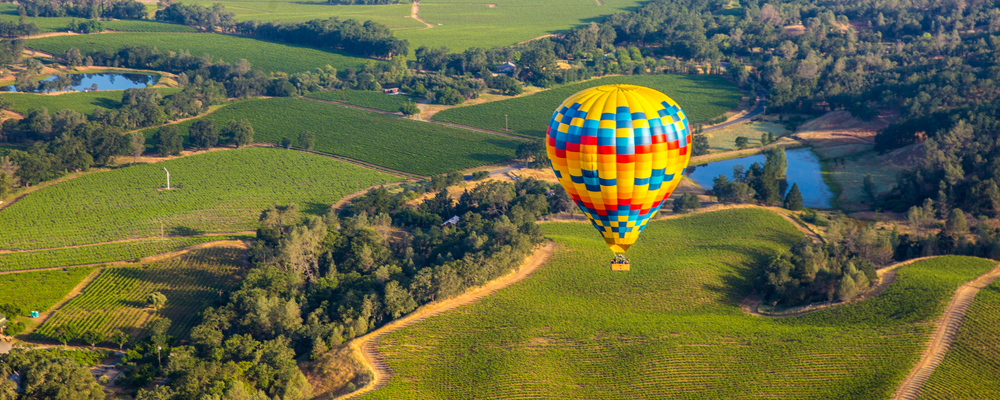 Hot air balloon in California countryside