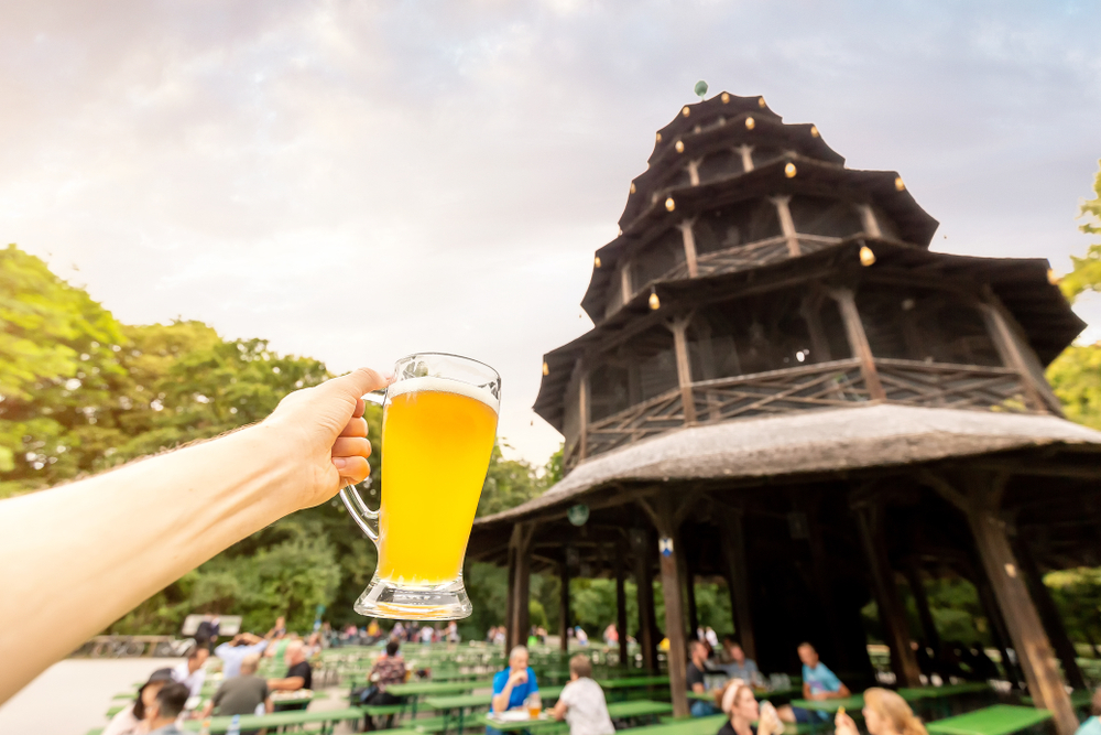 The Chinese tower in the English garden is a famous beer court in Munich. The concept of the Bavarian national dishes and drinks
