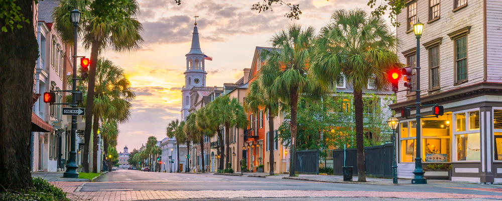 Cityscape of the French Quarter in Charleston, South Carolina