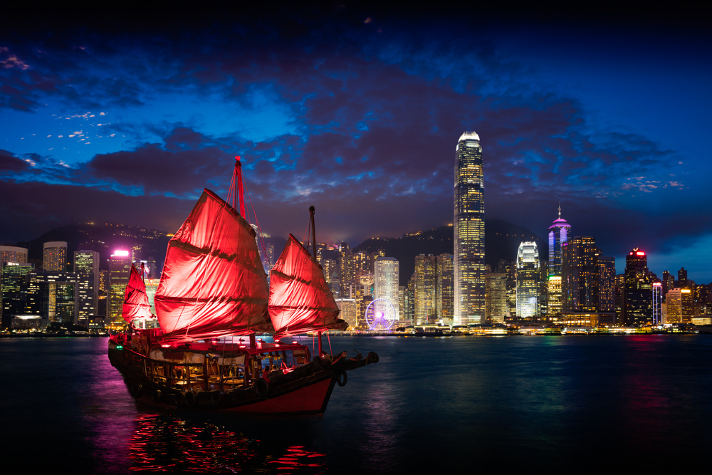 Victoria Harbour Hong Kong night view with junk ship on foreground