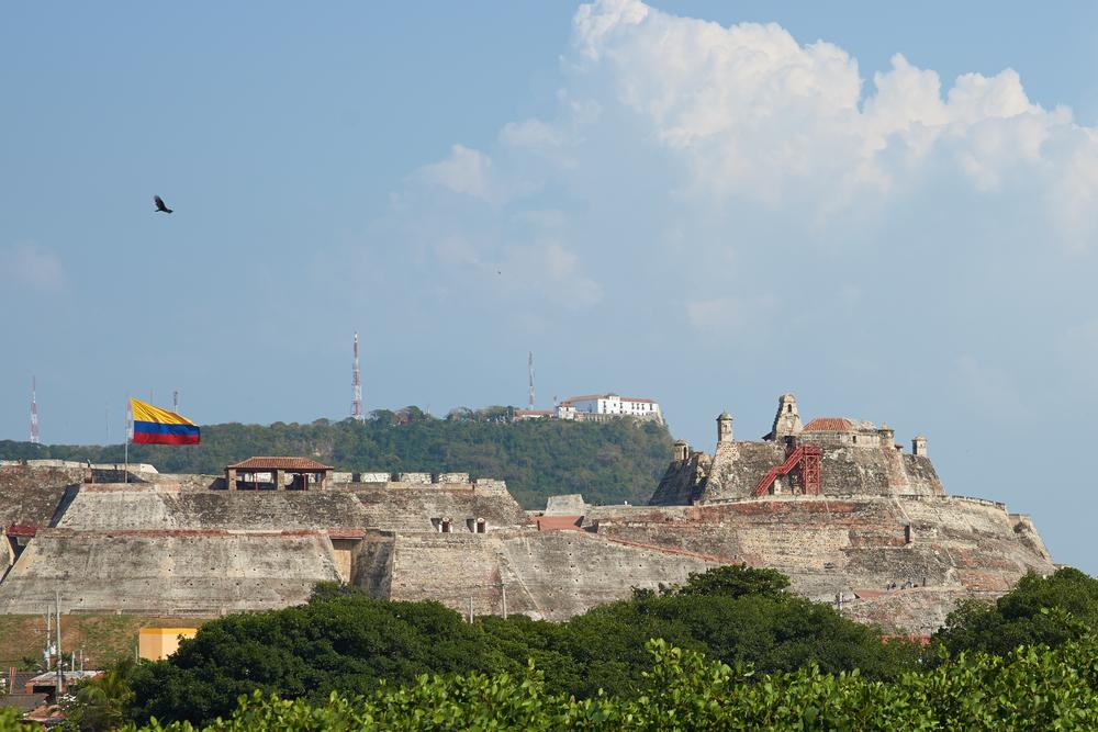 Historic castle of San Felipe De Barajas on a hill overlooking the Spanish colonial city of Cartagena de Indias in Colombia.