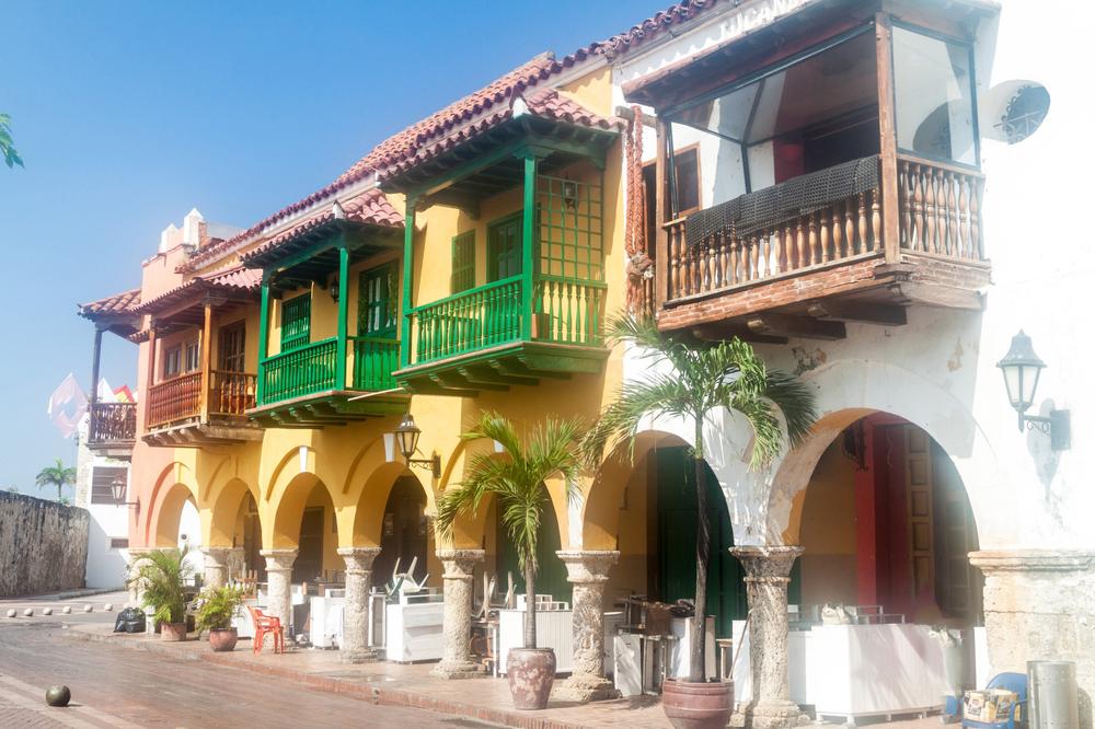 Colonial houses at the Plaza de los Coches square in Cartagena de Indias, Colombia.